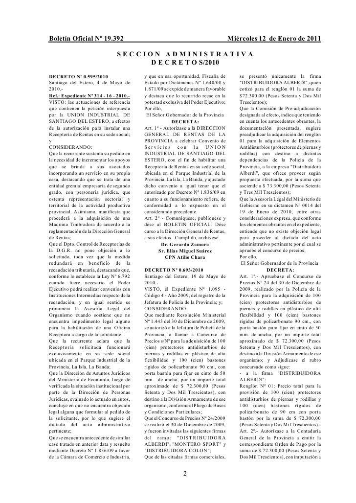 Boletín Oficial Nº 19.392                                                                Miércoles 12 de Enero de 2011    ...