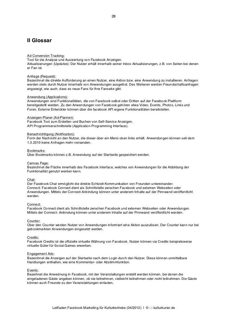 28II GlossarAd Conversion Tracking:Tool für die Analyse und Auswertung von Facebook Anzeigen.Aktualisierungen (Updates): D...