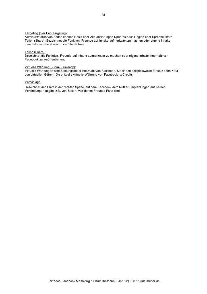 31Targeting (hier Fan-Targeting):Administratoren von Seiten können Posts oder Aktualisierungen Updates nach Region oder Sp...