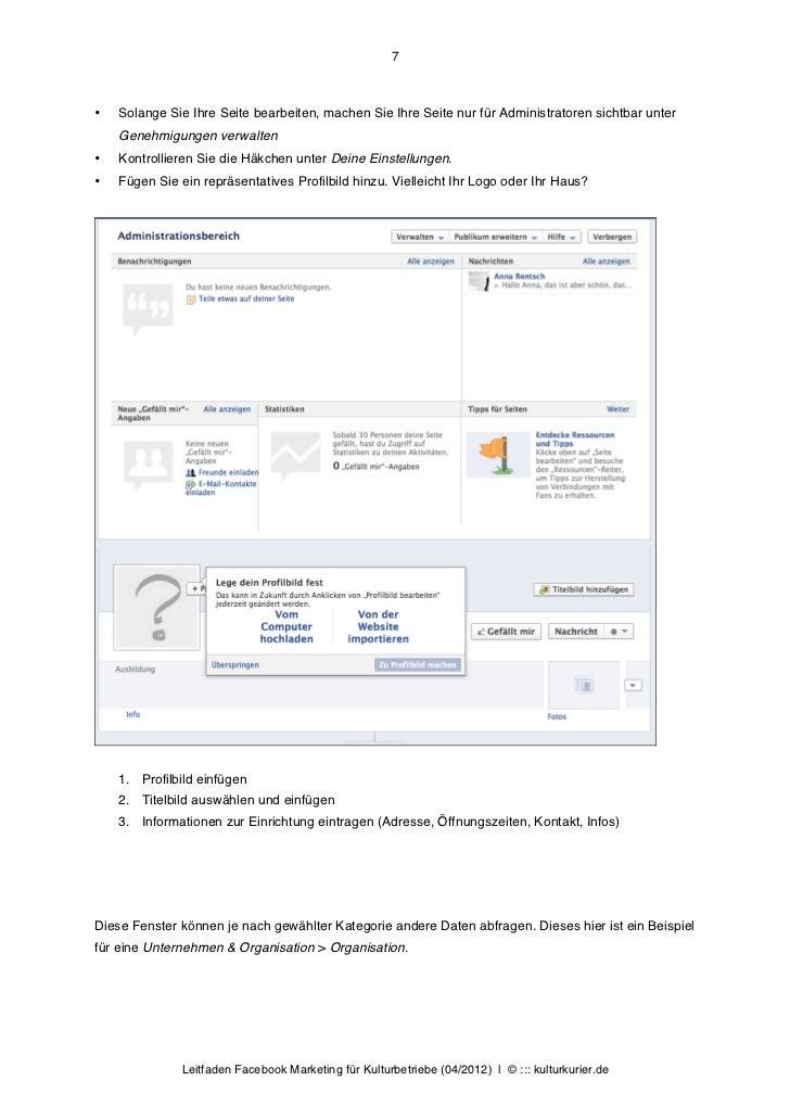 7•   Solange Sie Ihre Seite bearbeiten, machen Sie Ihre Seite nur für Administratoren sichtbar unter    Genehmigungen verw...