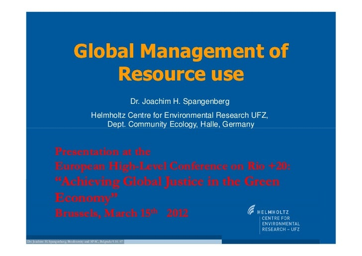 Global Management of                                    Resource use                                                      ...