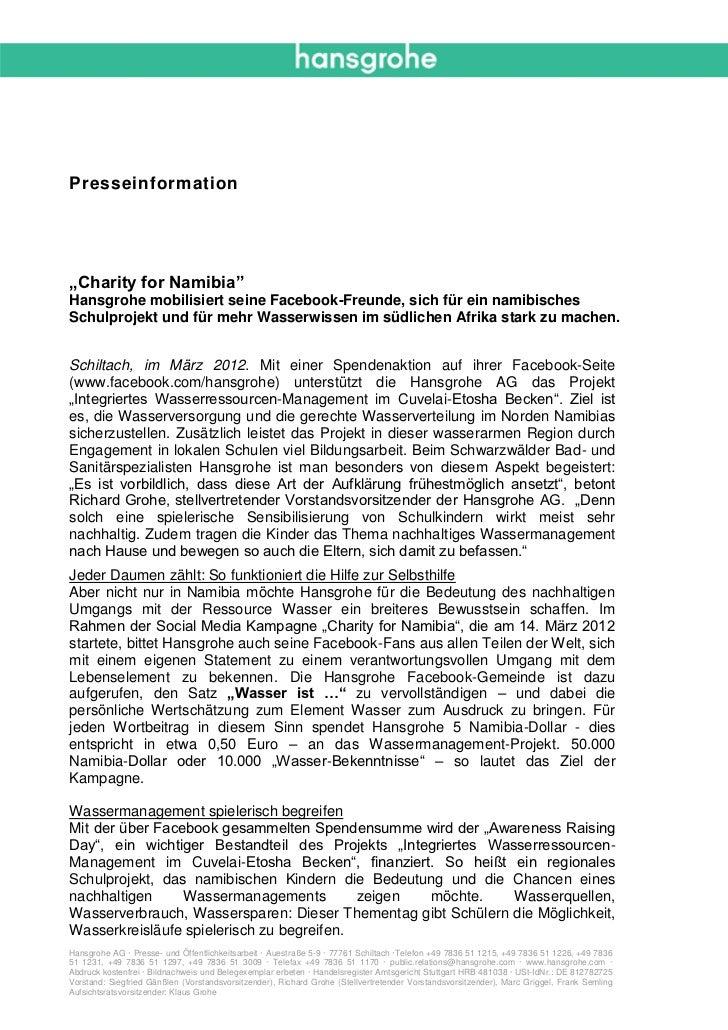 """Presseinformation""""Charity for Namibia""""Hansgrohe mobilisiert seine Facebook-Freunde, sich für ein namibischesSchulprojekt u..."""
