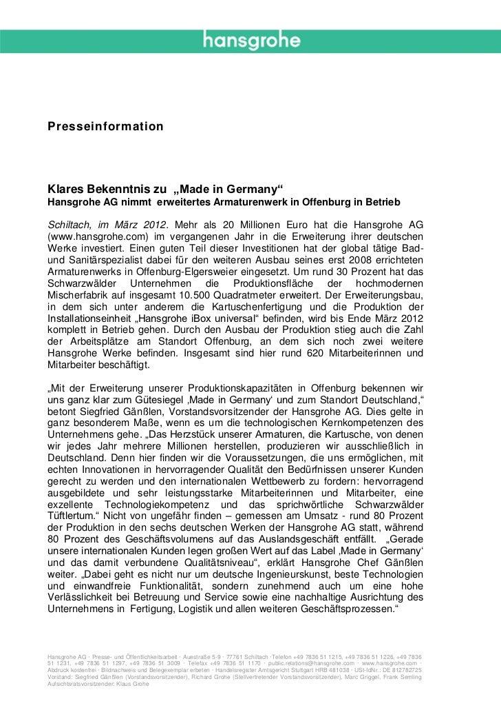 """PresseinformationKlares Bekenntnis zu """"Made in Germany""""Hansgrohe AG nimmt erweitertes Armaturenwerk in Offenburg in Betrie..."""