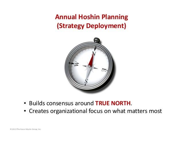 AnnualHoshinPlanning (StrategyDeployment)  • BuildsconsensusaroundTRUENORTH. • Createsorganizationalfocusonwha...