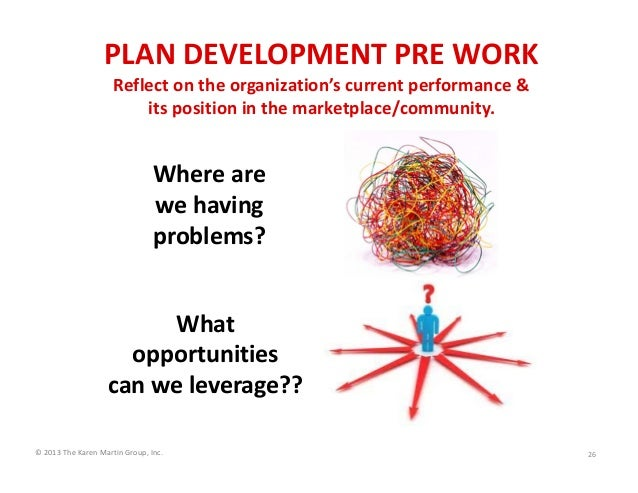 PLAN DEVELOPMENT PRE WORK Reflect on the organization's current performance &                    its position in the marke...