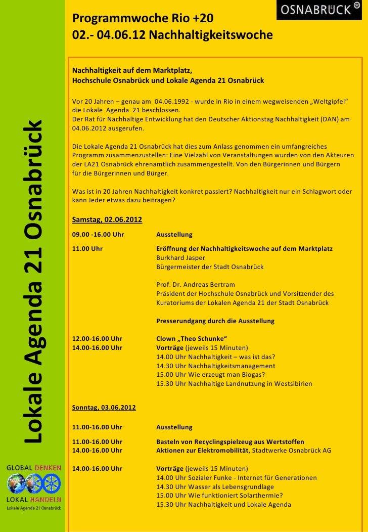 Programmwoche Rio +20                             02.- 04.06.12 Nachhaltigkeitswoche                             Nachhalti...
