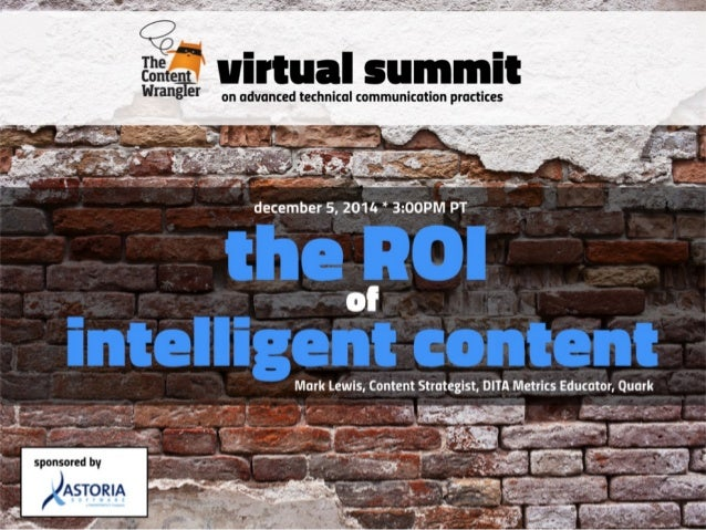 Virtual Summit  2014  Mark Lewis  mlewis@ditametrics.com  @LewisDITAMetric