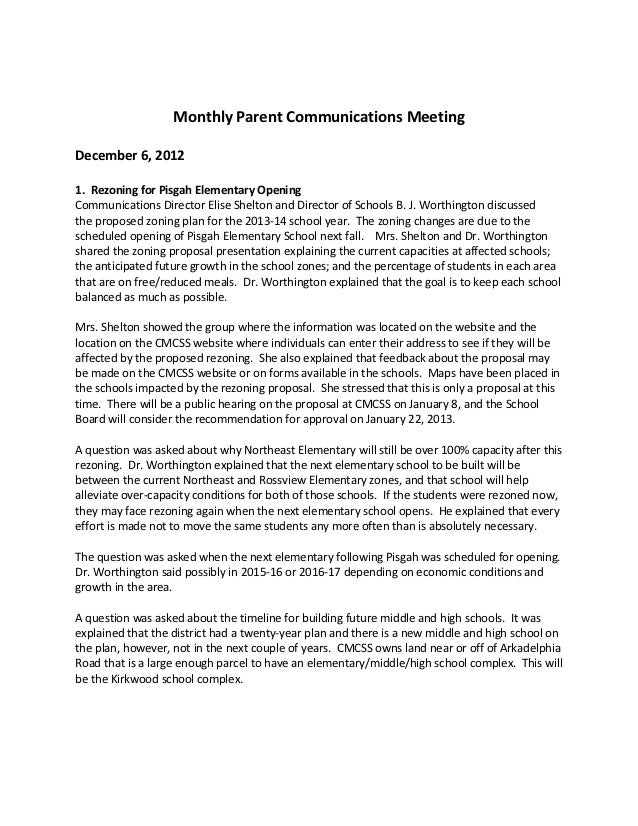 Monthly Parent Communications MeetingDecember 6, 20121. Rezoning for Pisgah Elementary OpeningCommunications Director Elis...