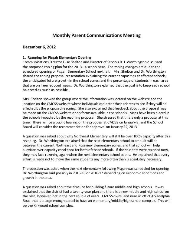 Monthly Parent Communications MeetingDecember 6, 20121. Rezoning for Pisgah Elementary OpeningCommunications Director Elis...