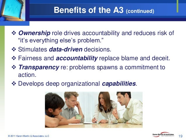 "Benefits of the A3 (continued)  Ownership role drives accountability and reduces risk of ""it's everything else's problem...."