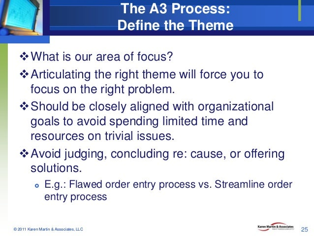 The A3 Process: Define the Theme What is our area of focus? Articulating the right theme will force you to focus on the ...