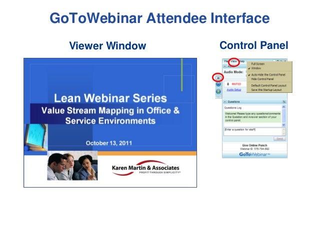 GoToWebinar Attendee Interface Viewer Window  Control Panel