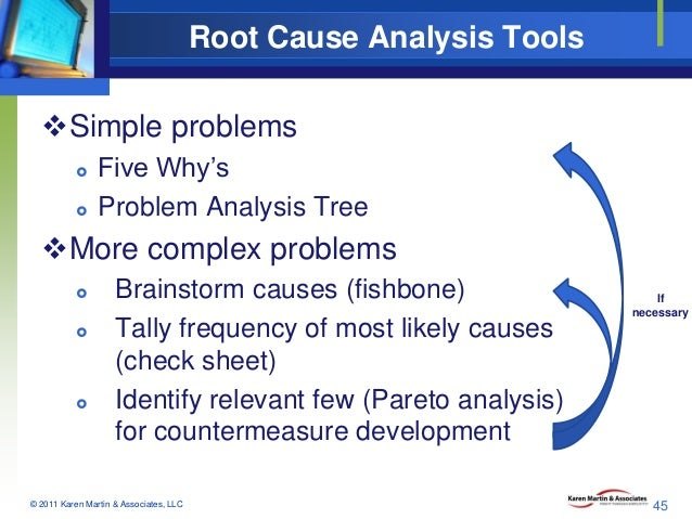Root Cause Analysis Tools Simple problems    Five Why's Problem Analysis Tree  More complex problems      Brainstor...