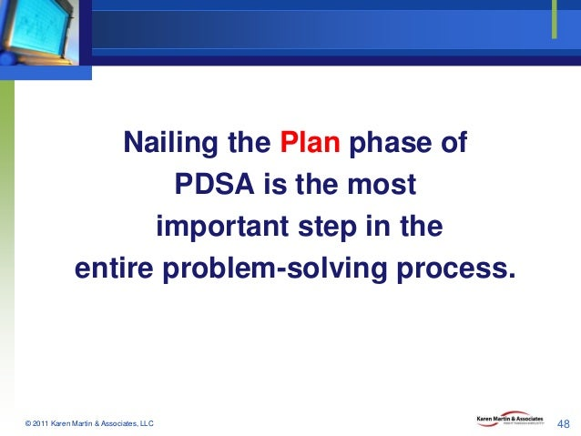 Nailing the Plan phase of PDSA is the most important step in the entire problem-solving process.  © 2011 Karen Martin & As...