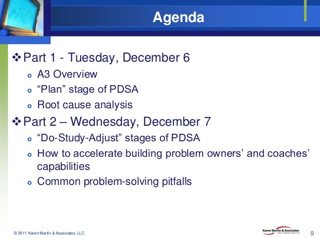 """Agenda Part 1 - Tuesday, December 6     A3 Overview """"Plan"""" stage of PDSA Root cause analysis  Part 2 – Wednesday, Dec..."""