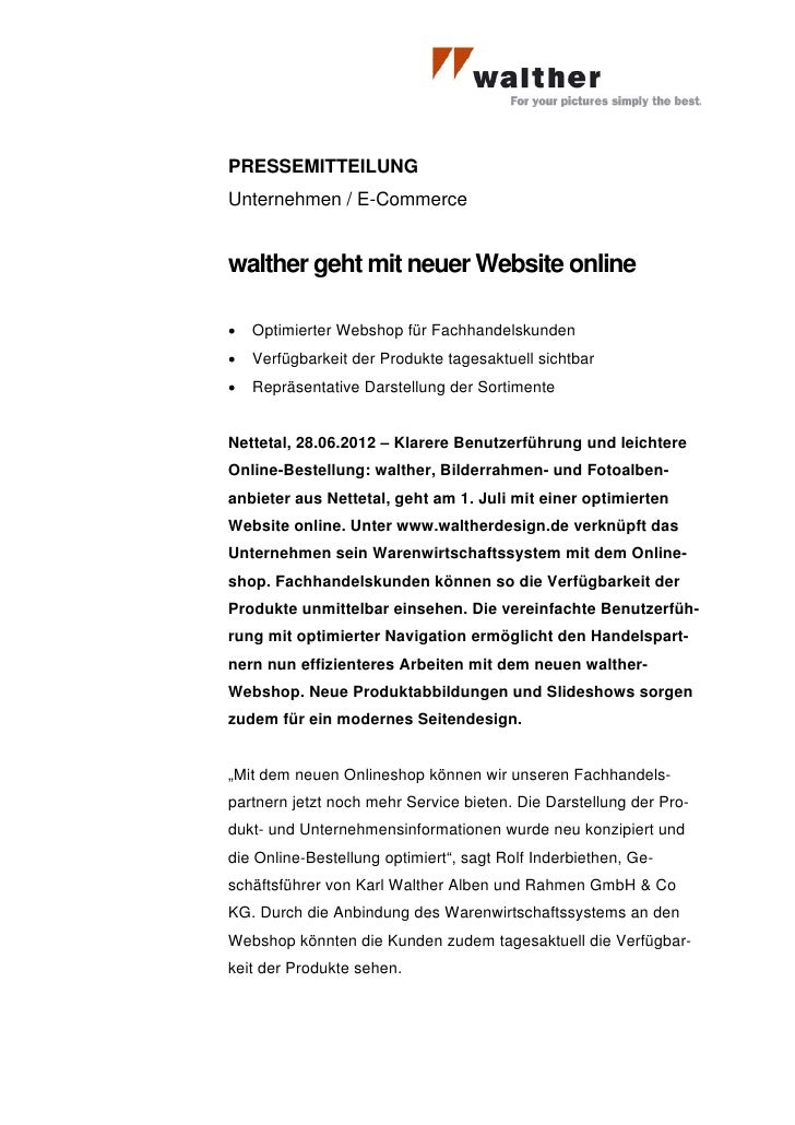 PRESSEMITTEILUNGUnternehmen / E-Commercewalther geht mit neuer Website online•   Optimierter Webshop für Fachhandelskunden...
