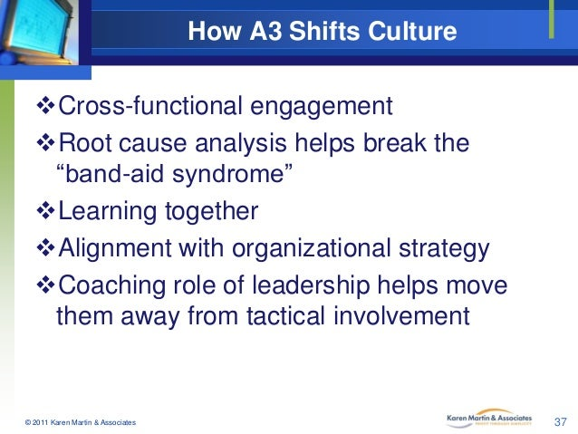 "How A3 Shifts Culture Cross-functional engagement Root cause analysis helps break the ""band-aid syndrome"" Learning toge..."