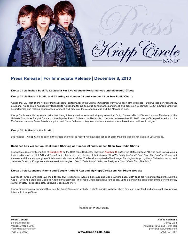 Press Release | For Immediate Release | December 8, 2010Kropp Circle Invited Back To Louisiana For Live Acoustic Performan...