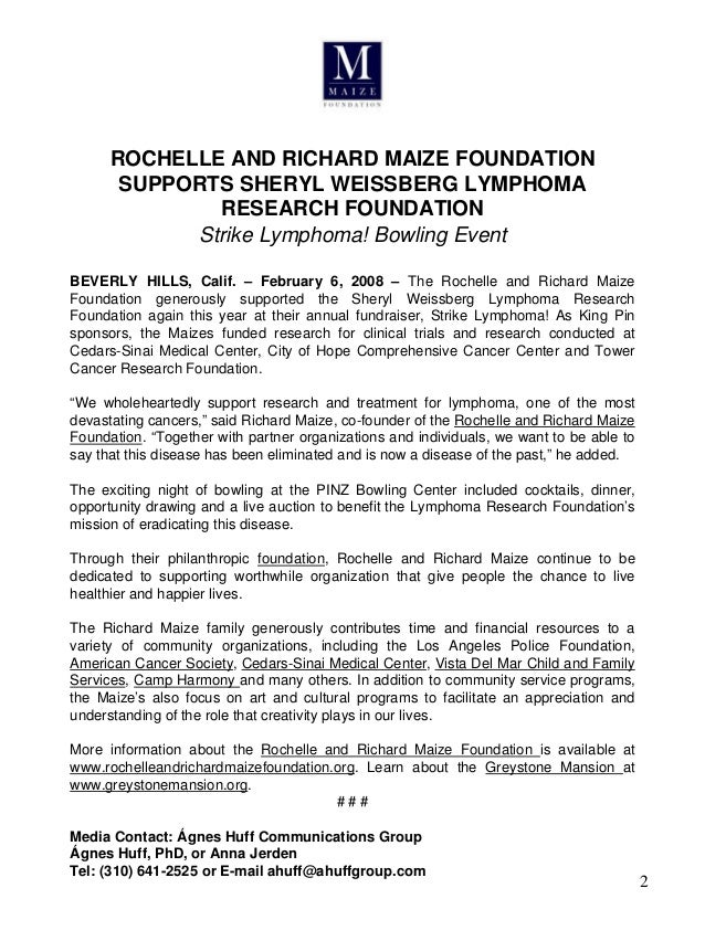 Rochelle and Richard Maize Foundation | Past Activities