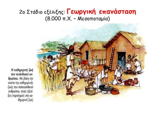 2ο Στάδιο εξέλιξης: Γεωργική επανάσταση  (8.000 π.Χ. – Μεσοποταμία)