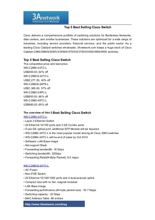 Top 5 Best Selling Cisco Switch