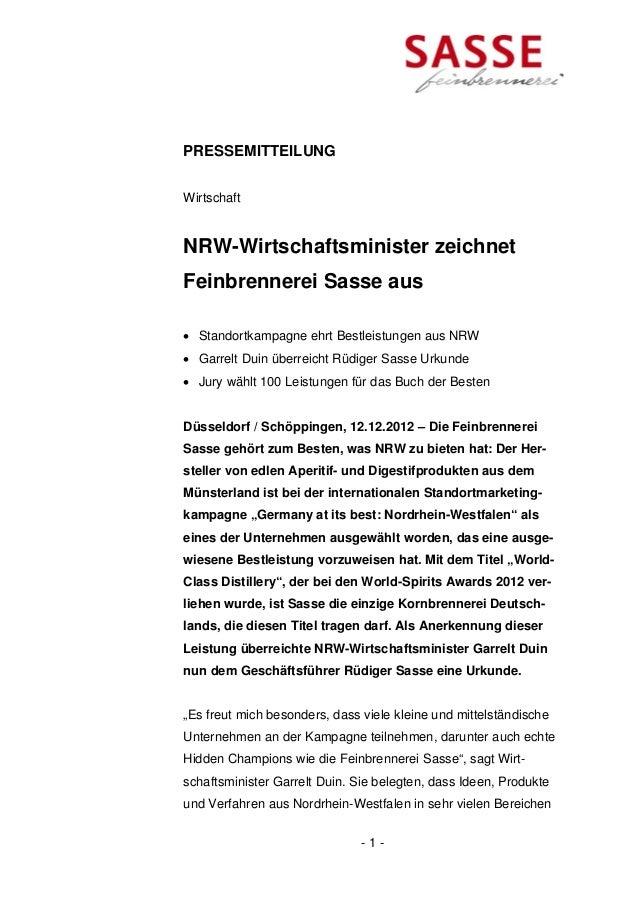 PRESSEMITTEILUNGWirtschaftNRW-Wirtschaftsminister zeichnetFeinbrennerei Sasse aus Standortkampagne ehrt Bestleistungen au...