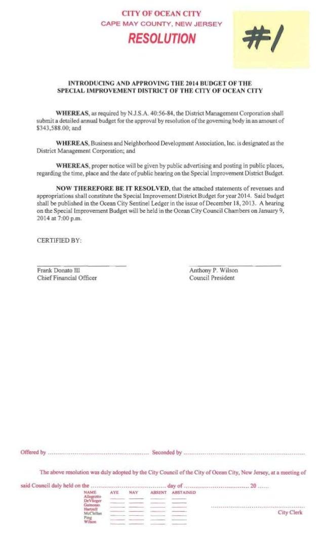 Ocean City Council agenda for Dec. 12, 2013