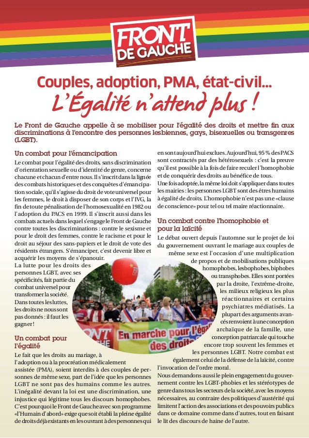 Couples, adoption, PMA, état-civil…               L'Égalité n'attend plus !Le Front de Gauche appelle à se mobiliser pour ...
