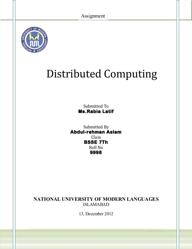 Assignment    Distributed Computing               Submitted To              Ms.Rabia Latif               Submitted By     ...