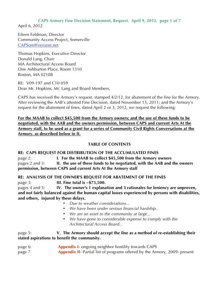 CAPS Armory Fine Decision Statement, Request. April 9, 2012. page 1 of 7April 6, 2012Eileen Feldman, DirectorCommunity Acc...