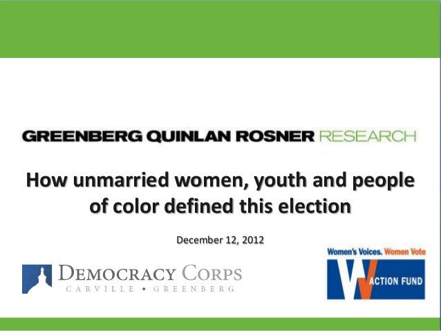 How unmarried women, youth and people     of color defined this election              December 12, 2012