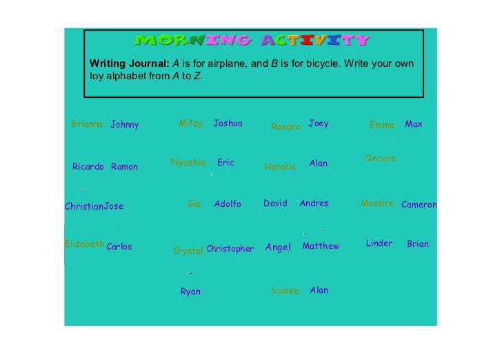 Writing Journal: A is for airplane, and B is for bicycle. Write your own      toy alphabet from A to Z. Brianna Johnny    ...