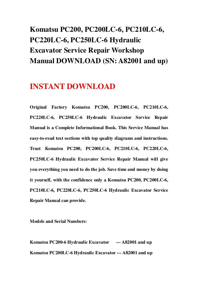 download komatsu pc220 6 pc220lc 6 excavator service shop manual