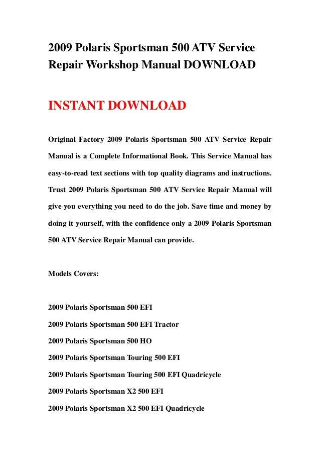 2009 polaris sportsman 500 atv service repair workshop manual rh slideshare net 2004 polaris sportsman 500 repair manual pdf 2004 polaris sportsman 500 ho parts manual