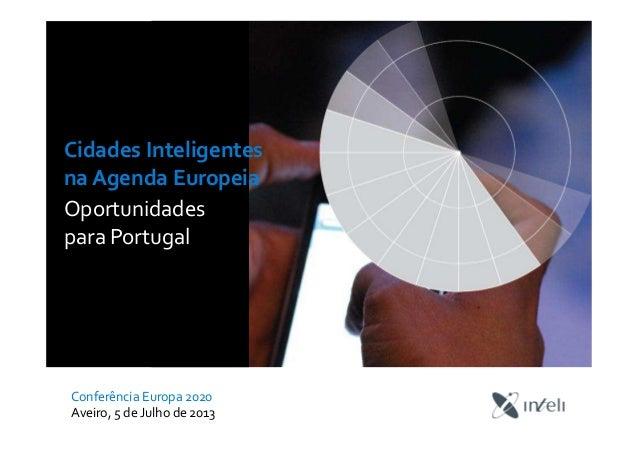Cidades Inteligentes na Agenda Europeia Oportunidades para Portugal Conferência Europa 2020 Aveiro, 5 de Julho de 2013