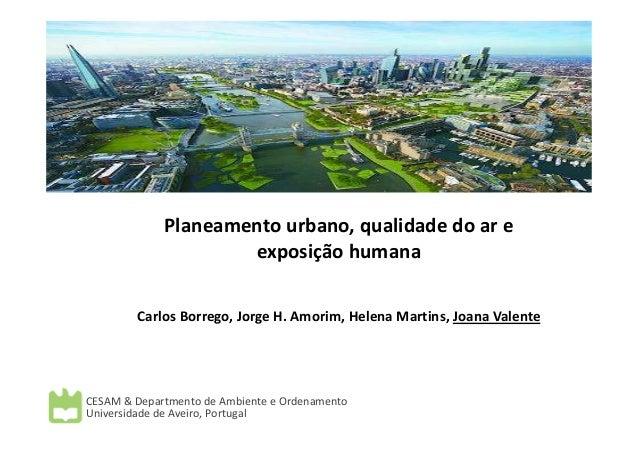 Planeamento urbano, qualidade do ar e exposição humana Carlos Borrego, Jorge H. Amorim, Helena Martins, Joana Valente CESA...