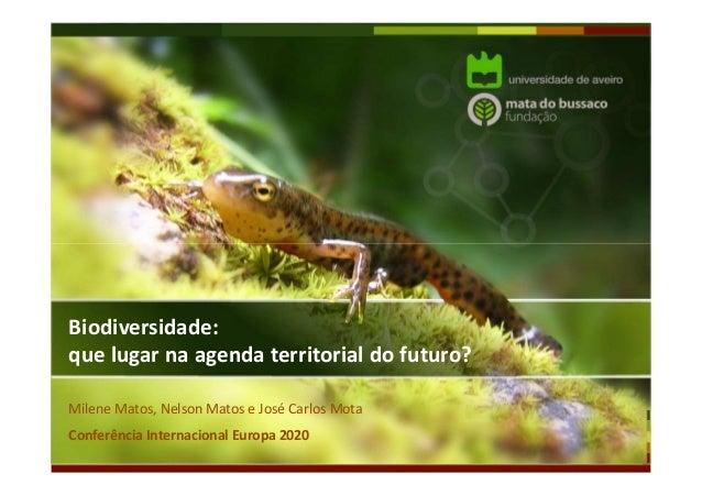 Biodiversidade: que lugar na agenda territorial do futuro? Milene Matos, Nelson Matos e José Carlos Mota Conferência Inter...
