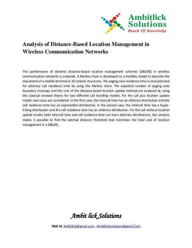 Ambit lick Solutions Mail Id: Ambitlick@gmail.com , Ambitlicksolutions@gmail.Com Analysis of Distance-Based Location Manag...
