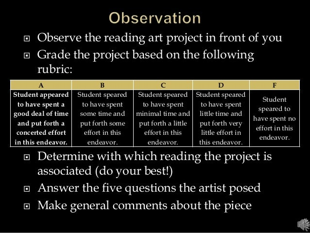  Observe the reading art project in front of you  Grade the project based on the following rubric:  Determine with whic...