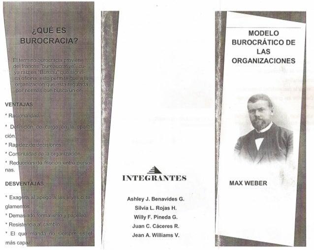 MODELO BUROCRÁTICO DE LAS ORGANIZACIONES  Á INTEGRANTES Ashley J. Benavides G. Silvia L. Rojas H. Willy F. Pineda G. Juan ...
