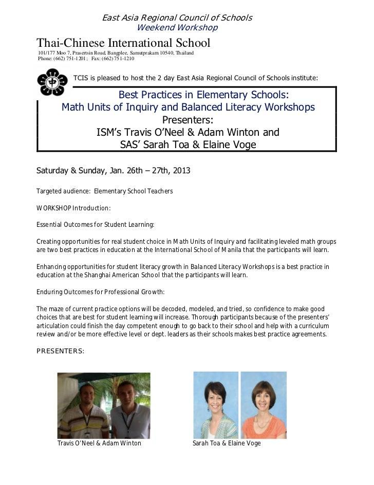East Asia Regional Council of Schools                                     Weekend WorkshopThai-Chinese International Schoo...
