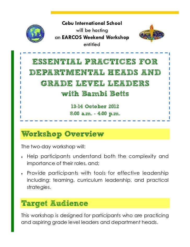 Cebu International School                       will be hosting               an EARCOS Weekend Workshop                  ...