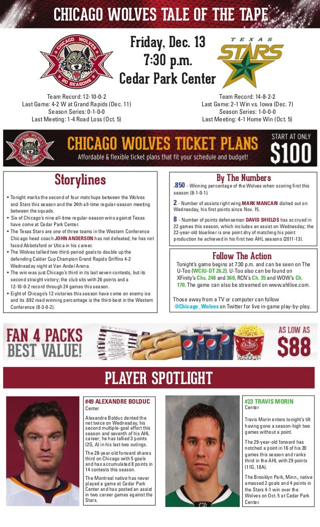 CHICAGO WOLVES TALE OF THE TAPE Friday, Dec. 13 7:30 p.m. Cedar Park Center Team Record: 14-8-2-2 Last Game: 2-1 Win vs. I...