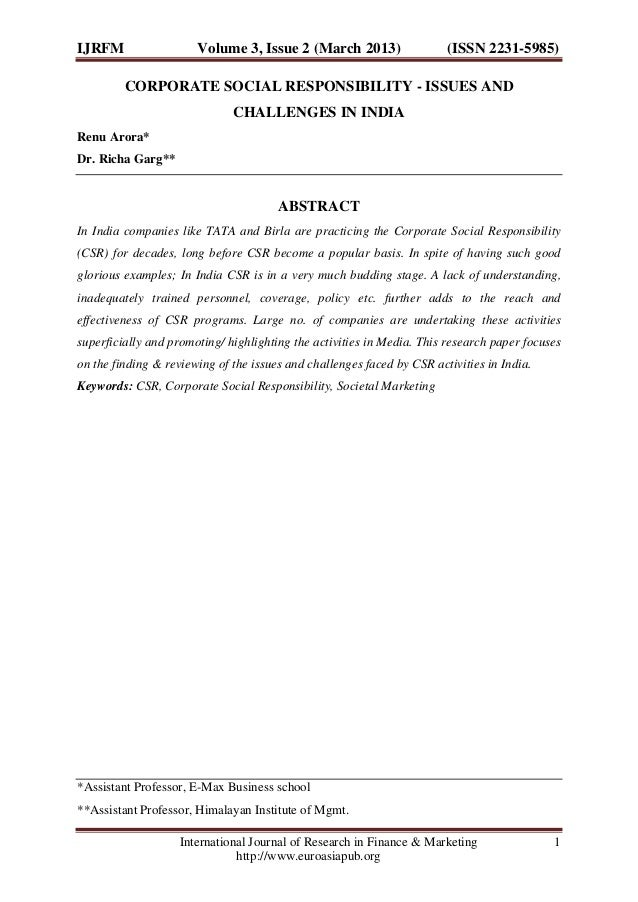 IJRFM  Volume 3, Issue 2 (March 2013)  (ISSN 2231-5985)  CORPORATE SOCIAL RESPONSIBILITY - ISSUES AND CHALLENGES IN INDIA ...