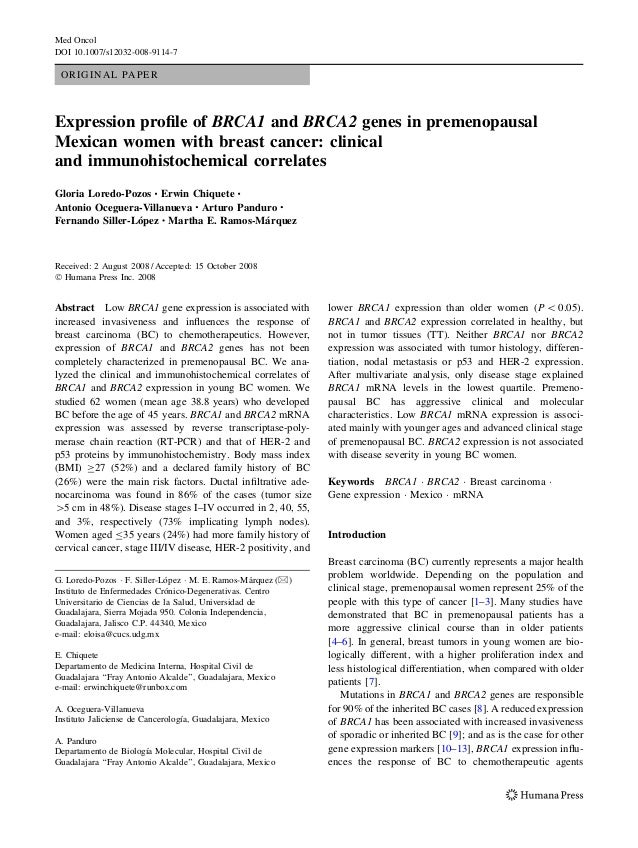 Med Oncol DOI 10.1007/s12032-008-9114-7  ORIGINAL PAPER  Expression profile of BRCA1 and BRCA2 genes in premenopausal Mexic...