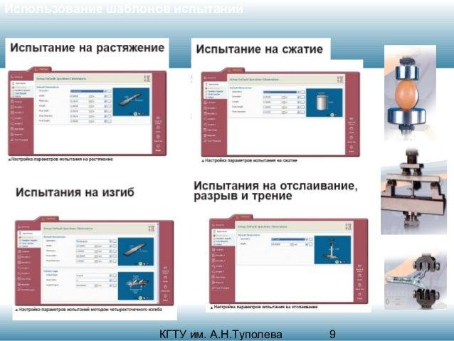 Использование шаблонов испытаний  КГТУ им. А.Н.Туполева  9