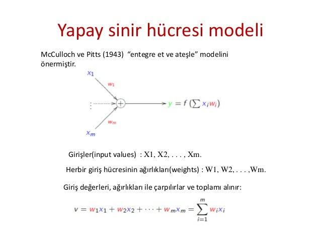 """Yapay sinir hücresi modeli McCulloch ve Pitts (1943) """"entegre et ve ateşle"""" modelini önermiştir. Girişler(input values) : ..."""