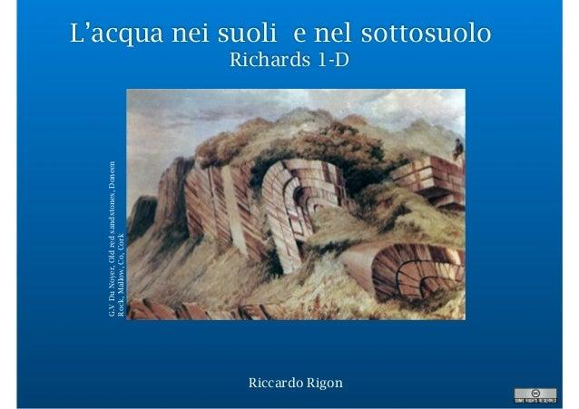 L'acqua nei suoli e nel sottosuolo Richards 1-D Riccardo Rigon G.VDuNoyer,Oldredsandstones,Doneen Rock,Mallow,Co,Cork