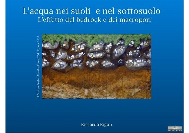 L'acqua nei suoli e nel sottosuolo L'effetto del bedrock e dei macropori Riccardo Rigon J.StrattonNoller,TroodosForestWall...