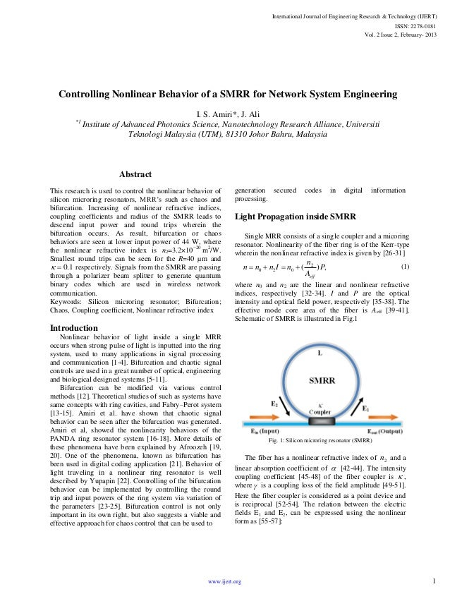 Controlling Nonlinear Behavior of a SMRR for Network System Engineering I. S. Amiri*, J. Ali *1 Institute of Advanced Phot...